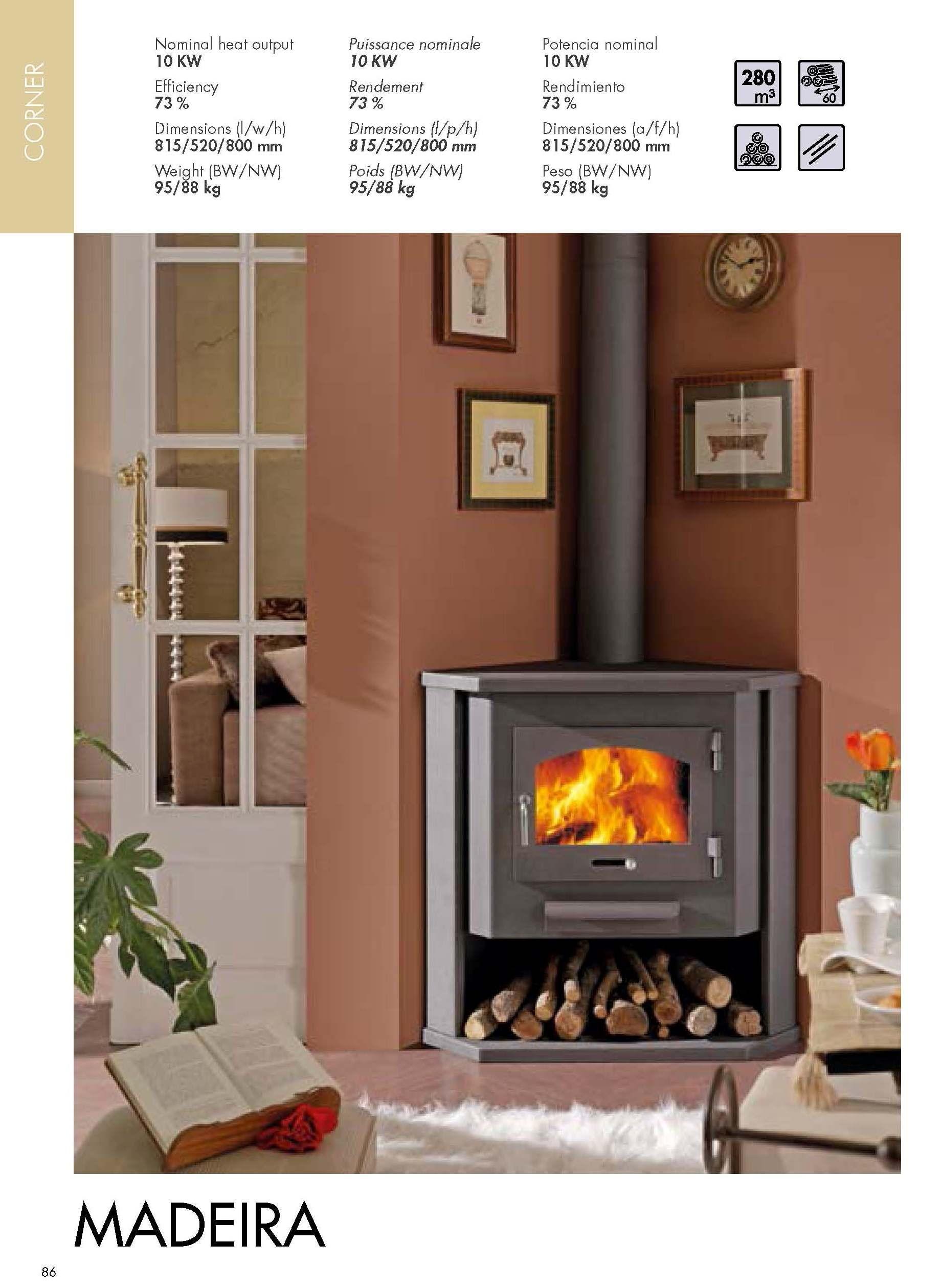 Chimenea esquinera latest stunning interesting latest for Estufa hogar moderna