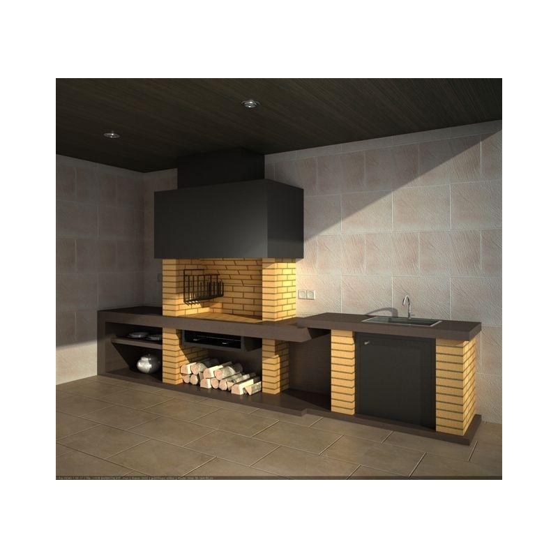 Barbacoa modular de obra con brasero vertical ecospain mediterranea ingenieria del confort - Barbacoas modernas de obra ...