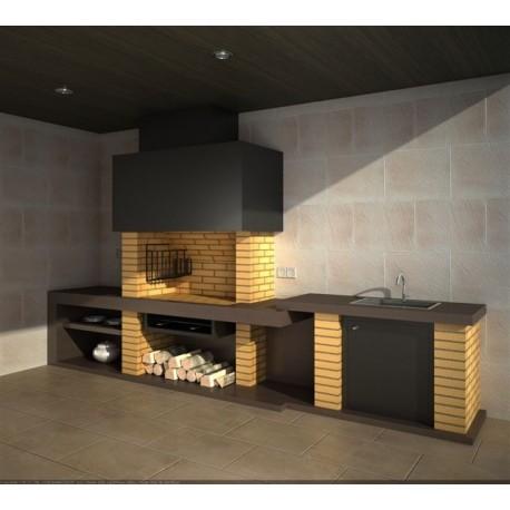 Barbacoa modular de obra con brasero vertical ecospain mediterranea ingenieria del confort - Medidas de barbacoas de obra ...
